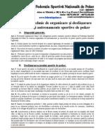 Regulament tehnic de organizare și desfășurare concursuri și antrenamente sportive de poker