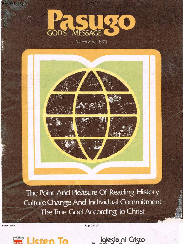 1979 03&04 Pasugo ''the Point & Pleasure of Reading History the True God  According to Christ'' | Social Group | Norm (Social)