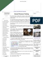 Vessel Pressure Testing