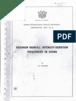 Maximum Rainfall Intensity-duration Frequencies in Ghana