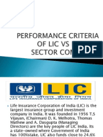 Performance Criteria of Lic v/s Private Sector Companies