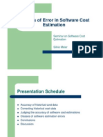 Sources of Errors in Cost management of software
