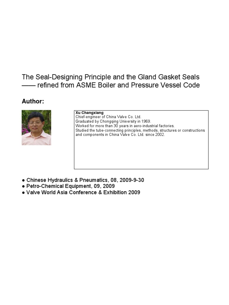 the seal-designing principle and the gland gasket seals pdf