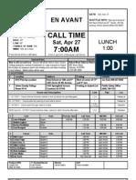 En Avant DAY ONE 4-27-13 Call Sheet etc