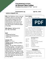 Newsletter 4-26-13