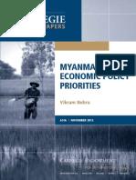 Myanmar's Economic Policy Priorities