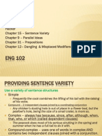 11amEng 102 15Variety 9ParallelIdeas 31Prepositions DanglingModifiers