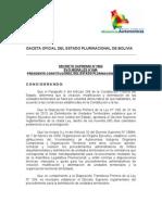 Decreto Supremo 1560 - Reglamentación de la Ley 339 de Delimitación de Unidades Territoriales