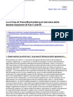 Mazzini Massimiliano  -  La critica di Hans Blumenberg al teorema della secolarizzazione di Karl Löwith (Dialegesthai)
