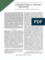 Speech AnalysisSynthesis Based on a Sinusoidal Representation-91H