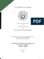 Delhi University MSc Physics Syllabus