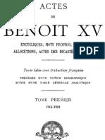 Actes de Benoit XV (Tome 1) 000000875