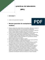 Bpl(Buenas Practicas de Laboratorio) Actividad 1