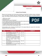 Cultures Forum Checklist