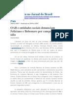 OAB e entidades sociais denunciam Feliciano e Bolsonado por campanha de ódio