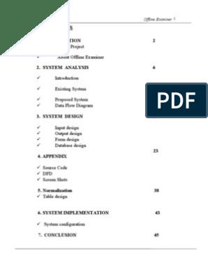 Offline Examiner | Relational Database | Feasibility Study