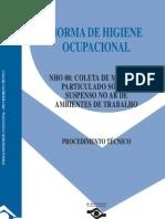 NHO 08- Coleta de Material Particulado Sólido Suspenso no Ar de Ambientes de Trabalho