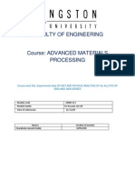 Advanced Materials Processing Assignment