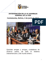 Jun.discurso Del Presidente Correa Ante La Oea