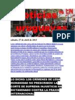 Noticias Uruguayas sábado 27 de abril del 2013