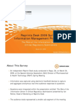 Reprints Desk 2009 Survey of Information Management Professionals on Support for eCTD Regulatory Submissions