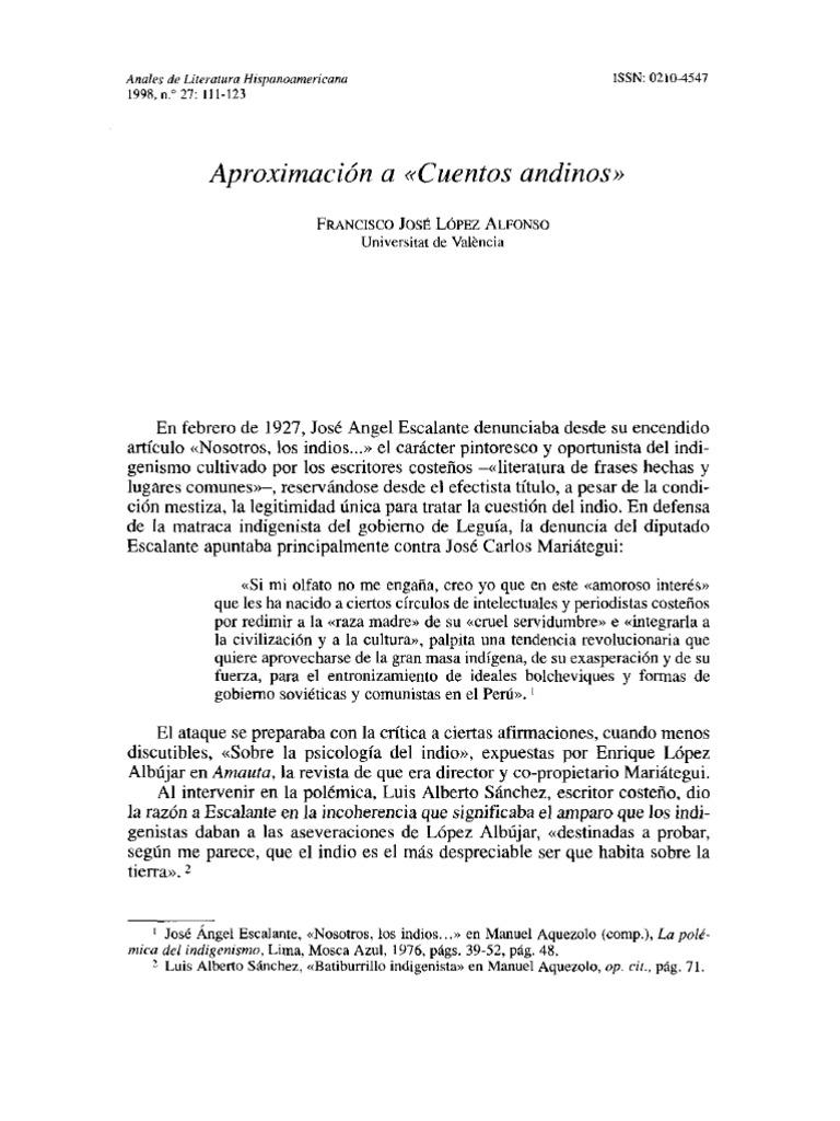 LÓPEZ ALFONSO - Aproximación a Cuentos andinos