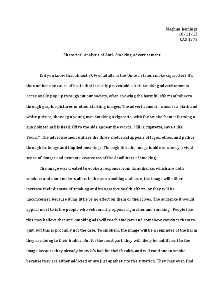 ad analysis essay antismoking advertisement rhetorical analysis smoking