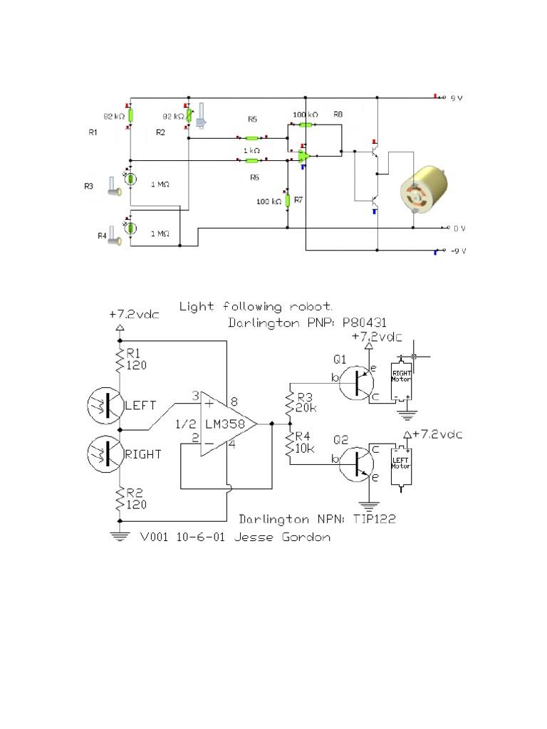 Robot Seguidor De Luz Operational Amplifier Electronic Circuits The Lm324 Quad Comparator Circuit