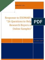 Market Xcel Response to ESOMAR's 26 questions