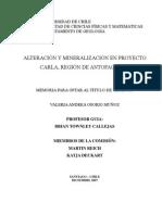 ALTERACIÓN Y MINERALIZACIÓN EN PROYECTO CARLA REGION ANTOFAGASTA