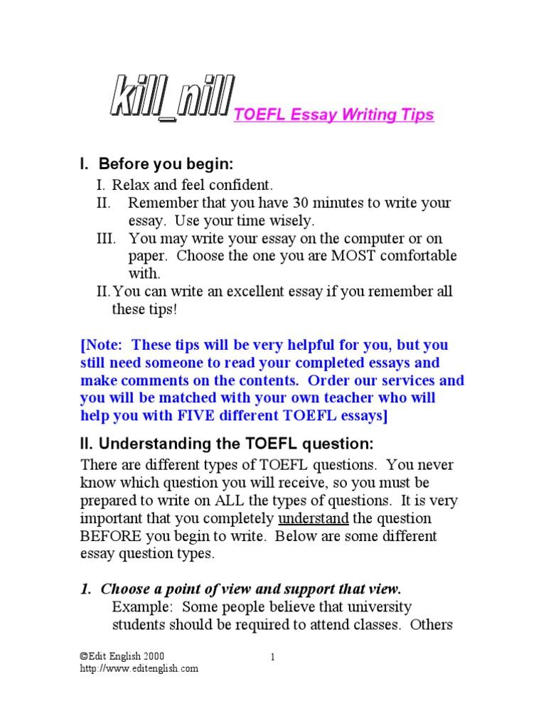 ebook - english) - toefl - toefl essay writing tips | essays | paragraph