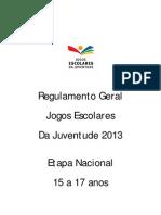 Regulamento JEJ 2013 - 15 a 17 Anos - Final - 22 Fev 2013