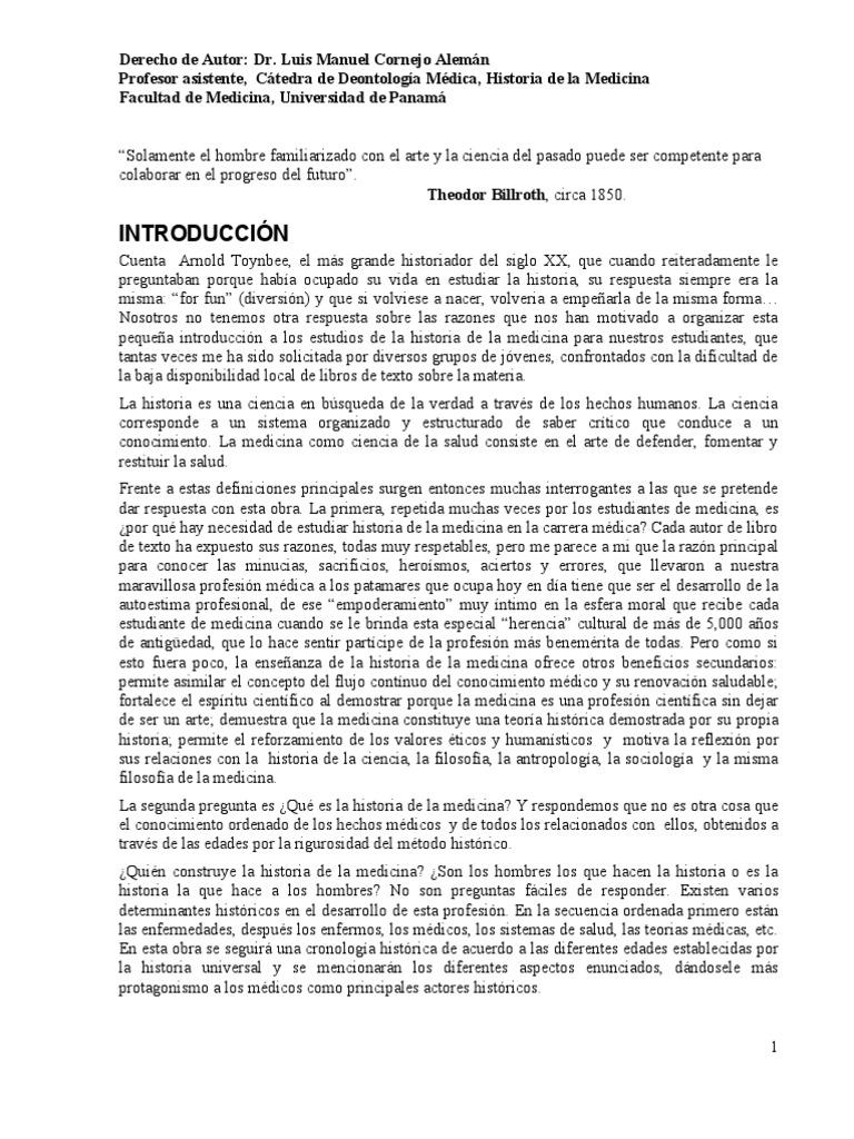 Historia de La Medicina Dr Cornejo