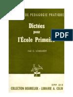 Langue française Dictée 02 CM1 CM2 Certificat d'Etudes