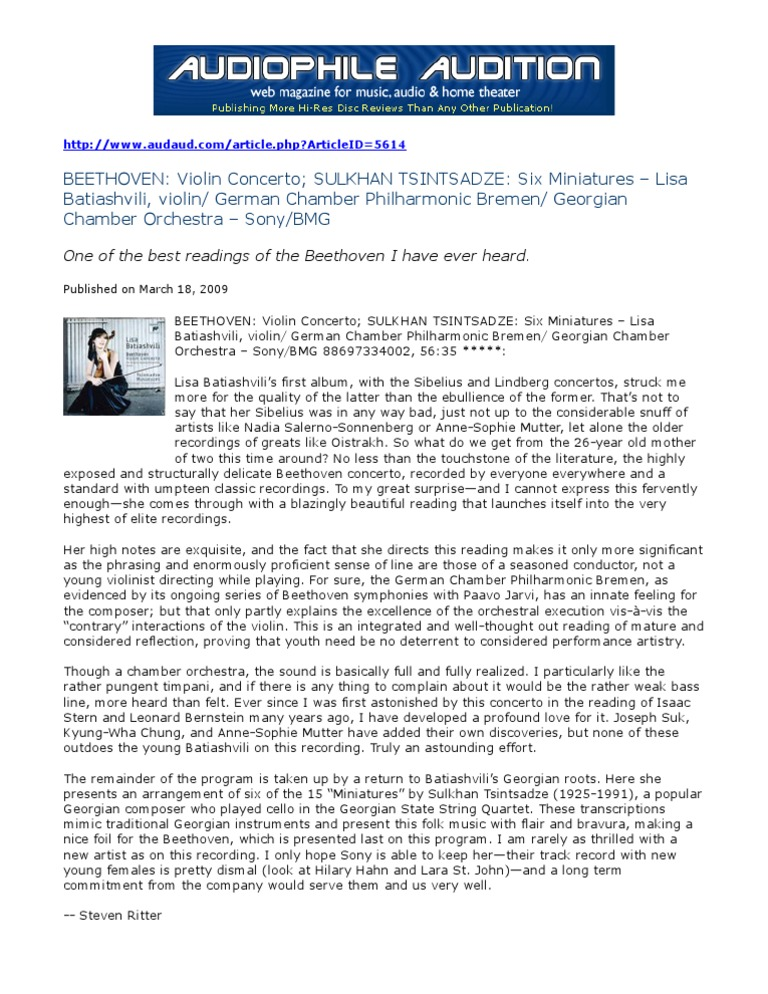 Audiophile Audition CD Review 3-19-09 | Orchestras | Concerto