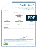 U.S. Rare Earth Minerals, Inc - 2014 Livestock OMRI Certification