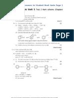 a2 chemistry Student Book Unit 5 Test 2 Mark Scheme