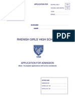 Schoolapplicationform for Rhenish
