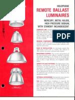 Holophane Remote Ballast Luminaires Brochure 1972