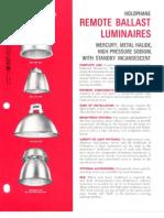 Holophane Remote Ballast Luminaires Brochure 8-73