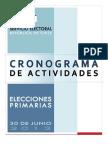 CRONOGRAMA PRIMARIAS PRESIDENCIALES CHILE