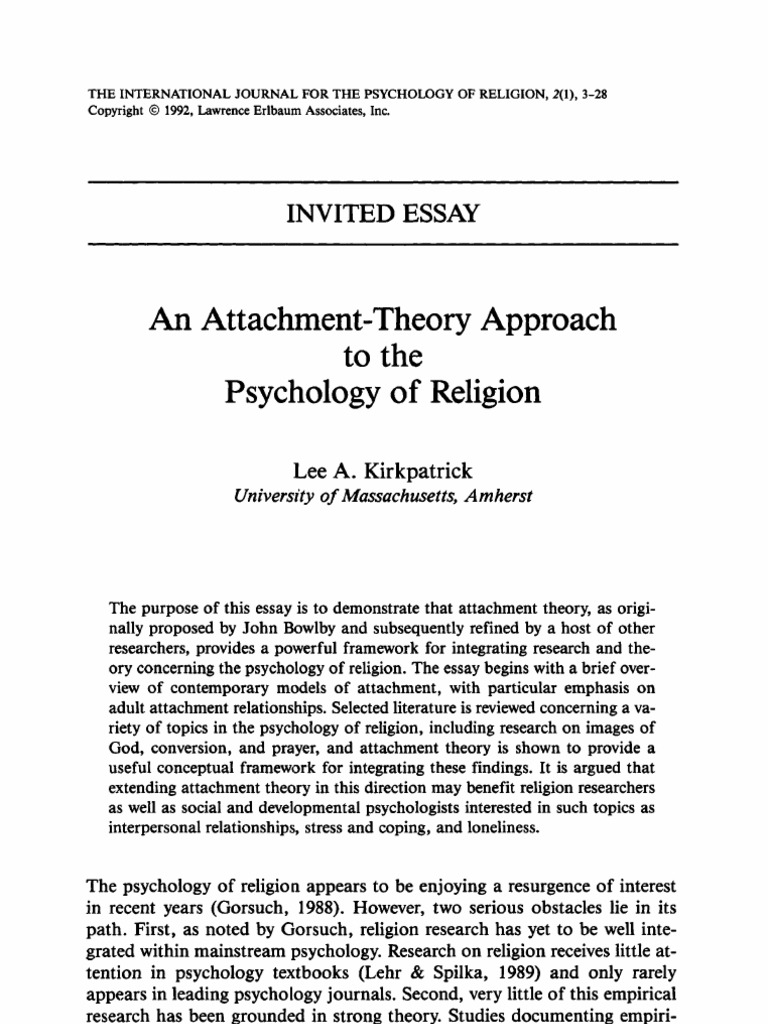 kirkpatrick attachment theory approach to psychology of religion kirkpatrick attachment theory approach to psychology of religion attachment theory psychology cognitive science