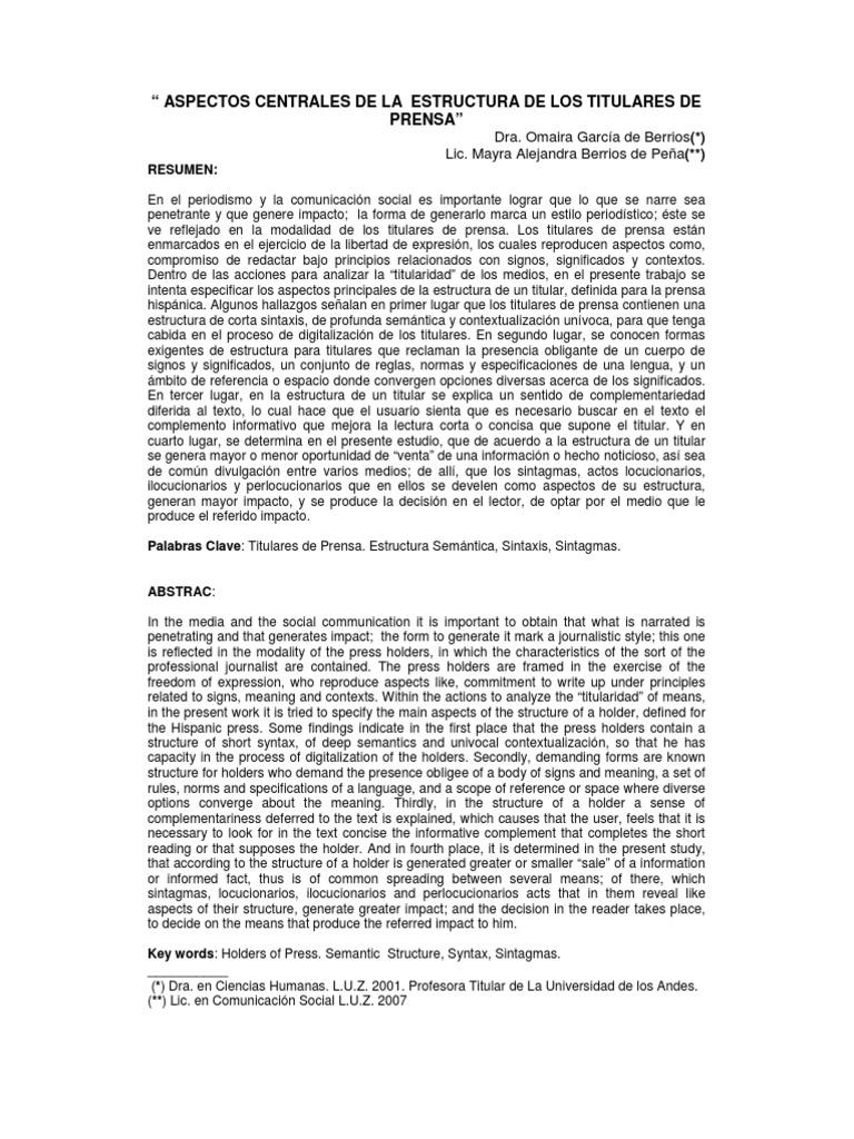 Aspectos Centrales de La Estructura de Los Titulares de Prensa