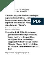 EMISSÕES DE GASES DE EFEITO ESTUFA EM BARRAGENS
