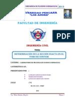 DETERMINACIÓN DE LA SECCIÓN EXACTA EN EL TUBO DE VENTURI