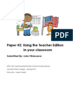 EDEL453 Spring2013 Paper2-UsingTheTeacherEdition JuliaVILLANUEVA