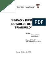 LÍNEAS Y PUNTOS NOTABLES DE UN TRIÁNGULO