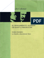 Eusebi Colomer El Pensamiento Aleman de Kant a Heidegger I