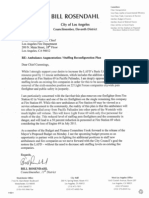 LAFD Staffing Reconfiguration Letter