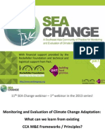 """SEA Change webinar """"Monitoring and Evaluation of Climate Change Adaptation Interventions"""